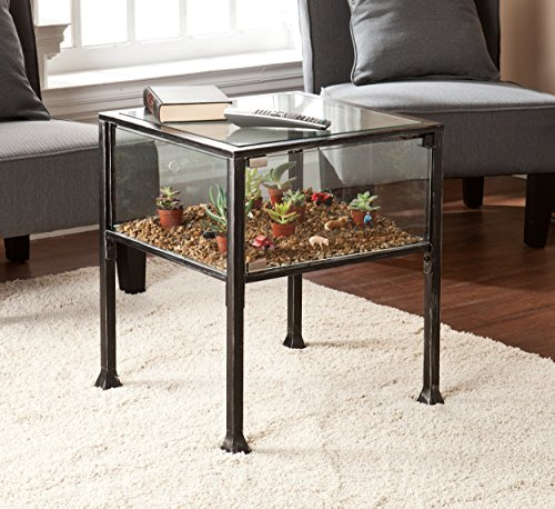 Terrarium Display Side End Table, Black with Silver