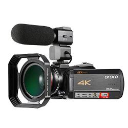 4k Camcorder, Ordro 4K UHD WiFi Video Camera with 12X Optical Zoom