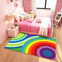 USTIDE Colorful Rainbow Children Rug Soft Crystal