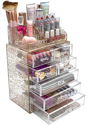 Sorbus Glitter Cosmetic Makeup and Jewelry Storage