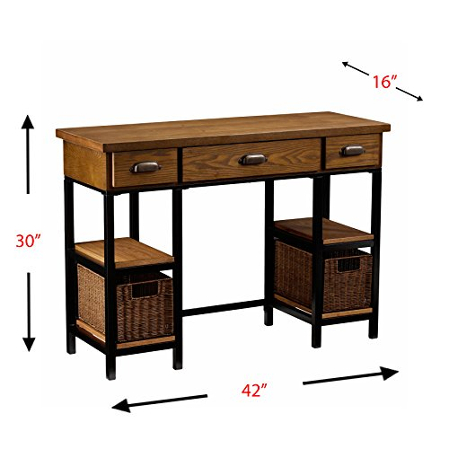 """Southern Enterprises Mirada Writing Desk 42"""" Wide Desk highlights an expansive workspace, two rattan containers, four fixed racks, two drawers, and one frill cabinet for office supplies or a keyboard Apothecary pulls and crates make a mixed structure any home office or family room area Weathered dim and normal dark colored completions consolidate with dark with brushed silver equipment for farmhouse style with modern appeal Storage work area is made with MDF, facade, powder-covered metal cylinder, and rattan Furniture piece weighs 74 pounds and measures 42 inches wide x 16 inches x 30 inches high Stop at the junction of farmhouse and modern style and get a rattan bushel en route with this one of a kind work area. Endured dark completion appears differently in relation to matte dark edge, and pharmacist handles include a chemist contact. Capacity overflows with racks, bins, and drawers while the general work area leaves a lot of space for screens, office supplies, and working space. Transform your home office into a blended media safe house, or spot this diversely cool piece in an eat-in kitchen for a fun stockpiling alternative. Measurements include: by and large: 42"""" W x 16"""" d x 30"""" h; console cabinet: 17.75"""" W x 11.25-14.75"""" d x 2.75"""" h (shut/open); seat/extra space: 19.75"""" W x 13"""" d x 23.5"""" h; leeway: 8.25"""" W x 12"""" d x 3"""" h Southern Enterprises Mirada Writing Desk 42"""" Wide, Weathered Gray and Natural Brown Finish."""