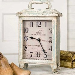 Carriage Clock Rustic in Distressed Tin