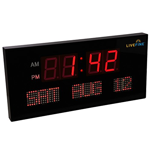 Ivation Big Oversized Digital Blue LED Calendar Clock