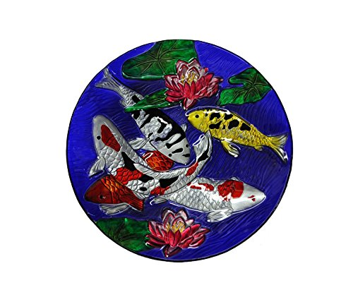Continental Art 18'' Hand Painted Koi Fish Glass Bowl