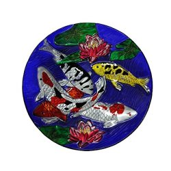 Continental Art 18'' Hand Painted Koi Fish Glass Bowl