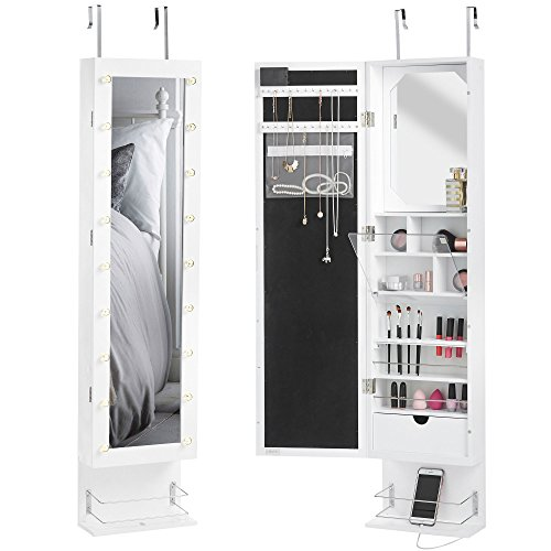 Beautify Mirrored Jewelry Cabinet Armoire Storage