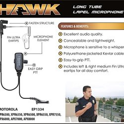 Hawk Lapel Mic for Motorola APX and XPR Radios
