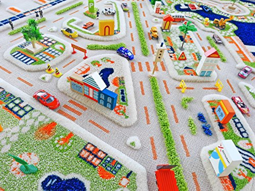 IVI Exclusive Thick 3D Kids Play Rug in a Colourful Town