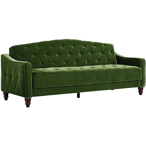 Novogratz Vintage Tufted Sofa Sleeper II (Green Velour)