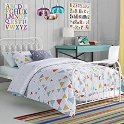 Novogratz Bright Pop Metal Bed, Adjustable Height