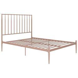 Novogratz Nicole Metal Bed with Storage, Pink, Queen