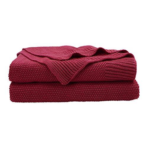 PICCOCASA 100% Cotton Solid Knit Throw Blanket,Lightweight Decorative