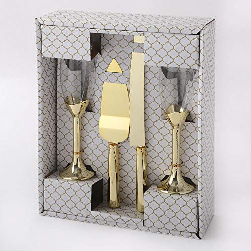 FavorOnline Gold 4 Pieces Tosting Glasses and Cake and Knife Server Set