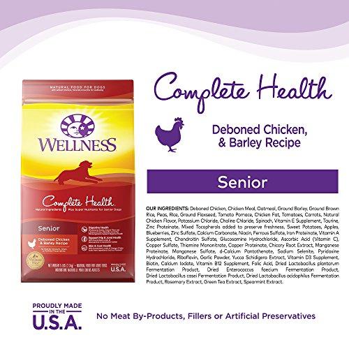 Wellness Complete Health Natural Dry Senior Dog Food Wellness Complete Health Natural Dry Senior Dog Food, Chicken & Barley, 30-Pound Bag.