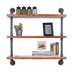 Diwhy Industrial Pipe Shelving Bookshelf Rustic Modern Wood