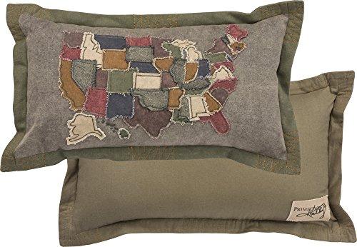 Primitives by Kathy Decorative USA Map Cotton Throw Pillow