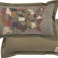 Primitives by Kathy Decorative USA Map Cotton Throw Pillow