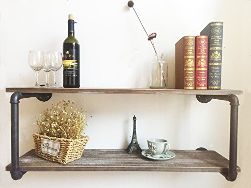 Industrial Rustic Wood Wall Mounted Iron Pipe Shelf Hung Bracket Kitchen