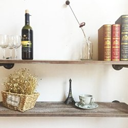Industrial Rustic Wood Wall Mounted Iron Pipe Shelf Hung Bracket Kitchen