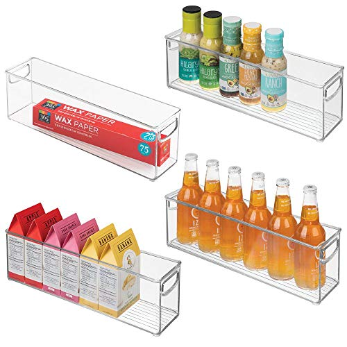 mDesign Plastic Stackable Kitchen Pantry Cabinet, Refrigerator or Freezer