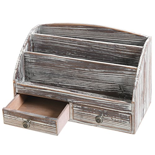 MyGift 3-Compartment Torched Wood Desktop Document & Supply Organizer
