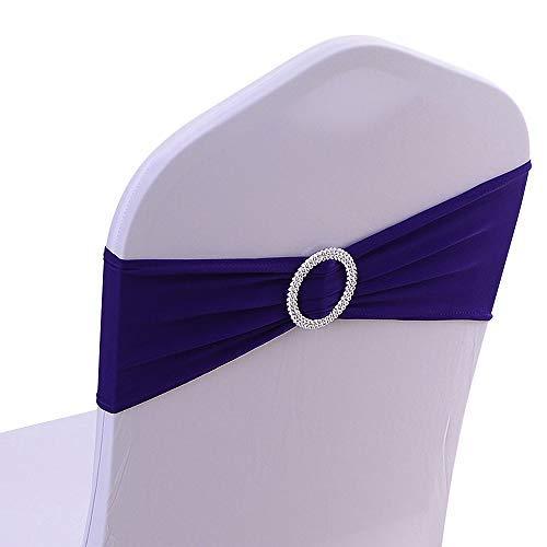50PCS Spandex Chair Sashes Bows Elastic Chair Bands