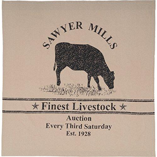 VHC Brands Farmhouse Bath Miller Farm Charcoal Cow Rod Pocket