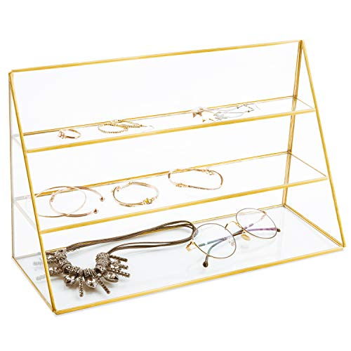 MyGift 3-Tier Retail Glass Jewelry Display Showcase