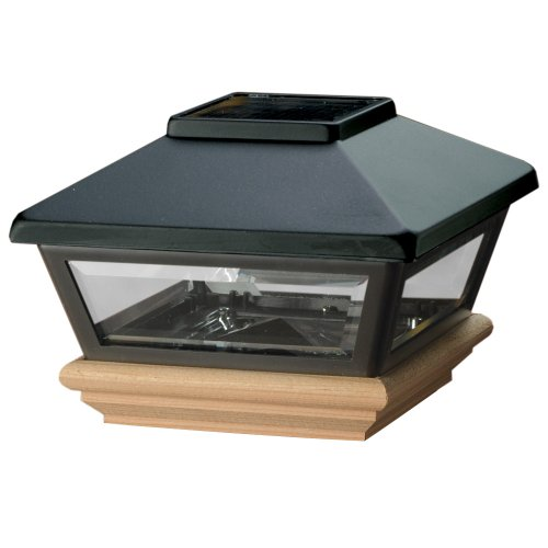 Deckorators Solar Black Post Cap with Cedar Base