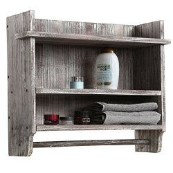 MyGift Wall Mounted Torched Wood Bathroom Organizer Rack