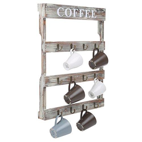 MyGift 12-Hook Rustic Wall-Mounted Wood Coffee Mug Holder