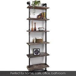 Industrial 6-Tiers Modern Ladder Shelf Bookcase