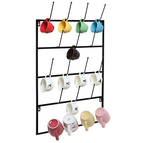 5 Tier Black Metal Wall Mounted Kitchen Mug Hook Display/Cup Storage