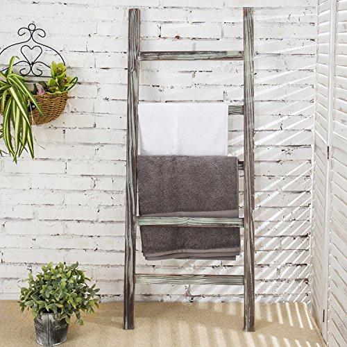 MyGift 4-Foot Decorative Rustic Barnwood 5-Rung Blanket Ladder Organizer