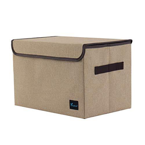 PICCOCASA Storage Cube Bin, Linen Fabric Storage Basket with Lid