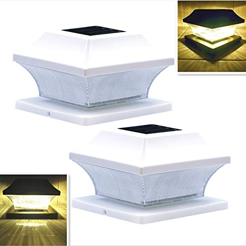 Solar Post Cap Lights Outdoor White Lantern