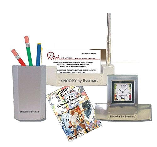 """""""Snoopy by Everhart"""" 3 Piece Desk Top Gift Set Has a Desk Clock"""