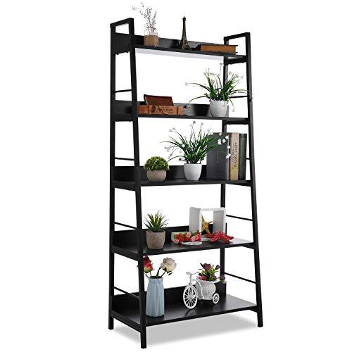 5 Shelf Ladder Bookcase, Industrial Bookshelf Wood and Metal Bookshelves