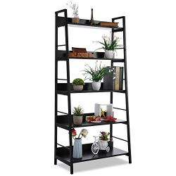 5 Shelf Ladder Bookcase, Industrial Bookshelf Wood and Metal Bookshelves