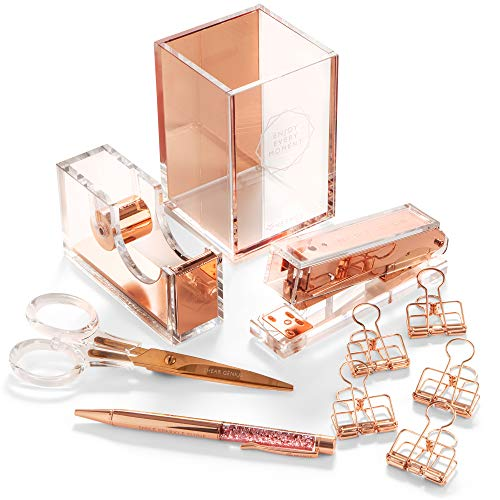 Stylish Office Desk Accessories and Supplies Kit For Women , Rose Gold - 10-Piece Desktop Accessory Set for Office, Home - Work, Writing, and Project Organizer with Copper Pen, Scissors, Stapler