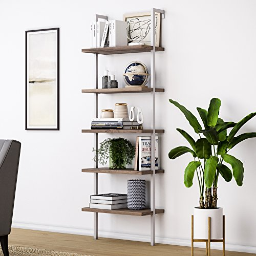 Nathan James Theo 5-Shelf Wood Ladder Bookcase with Metal Frame