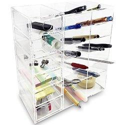 Ikee Design Acrylic 6-Shelf Office Desk Organizer/Caddy Organizer