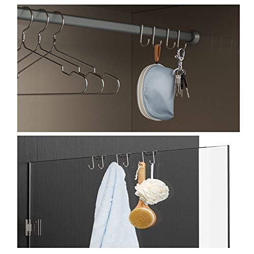 Cabinet Door Double Hooks Hanging Towel Rack - 18/8 Stainless Steel Multiple Use S Shaped Distinctive Designed Hanging Over the Door Hooks Use for Kitchen, Bathroom, Bedroom,Office (4 PACK)
