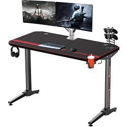 Vitesse 47 inches Gaming Desk Racing Style Computer Table with LED Lights, T-Shaped Professional Gamer Workstation PC Desk with Cup Holder & Headphone Hook