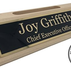 Personalized Business Desk Name Plate with Card Holder