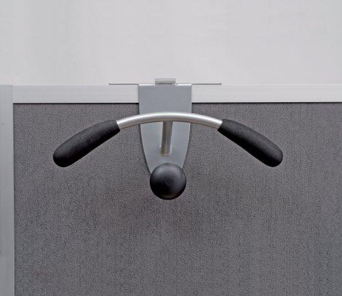 Alba Partition and Over-the-Door Coat Hook, Metallic Gray and Black