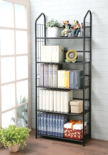unbrand Black 5 Tier Metal Bookshelf Rack,