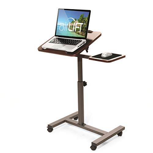 "Seville Classics Tilting Sit-Stand Computer Desk Cart with Mouse Pad Table, Height-Adjustable from 27.5"" to 40"" H, Walnut"