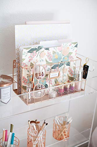 Blu Monaco Rose Gold Desk Organizer - Mail Organizer - 2 Tier Mail Basket - Metal Mail Sorter Inbox - Desk Accessories Women Office  TWO TIER TRAY: This versatile bill organizer set features two tiers that allow for a variety of storage, including mail holder, large files and smaller accessories, office supplies, or even makeup using rose gold desk accessories. It's perfect for cubicle décor desk decorations for women office! ORGANIZE WITH STYLE: In an on-trend rose gold color, this gorgeous greeting card organizer will look stunning on a shelf as desk accessories, in the office as cubical accessories, or at home as a command center or letter sorter. Rose gold office desk accessories and desk organizers and accessories for women can be used anywhere. VERSATILE AND SIMPLE: You have things to organize in a classroom mailbox, this countertop organizer delivers. Use it to organize your bills in a mail basket or important papers in a modern mailbox with ease. It's easy to transition it to the workplace for cubicle decorations with this cubicle organizer. SUPERIOR QUALITY: Made of strong, solid steel this office mailbox is as durable as they come for mail organizer desktop. A durable electro plated finish means it will look great for desk accessories or rose gold office decor. SPACE SAVING: Featuring two tiers for storage, this corner desk organizer allows for ample storage as a mail tray but doesn't take up too much room on your desk or counter as a desk folder organizer or envelope holder. This versatile desk caddy organizer can be used as a rose gold basket or even as rose gold room décor. Rose Gold Two Tier Mail Organizer This two tier rose gold desk and mail organizer will keep everything in order while making a big style statement. In a trendy rose gold finish and with solid steel construction, this mail organizer is just what you need for an organized desk. Product Details: 2 Tier Mail Holder Solid Steel Construction No Assembly Required Durable Gold Electro-Plating Handcrafted Grid Wire Metal Chip, Crack, Peel, Rust Resistant Color: Rose Gold Makes a great gift for Christmas, Back to School, Co-Workers, College, Students, Kids, Children, Childs, Teens, Boys, Girls, Teachers, Secretary, Reception Area, Receptionist, Birthdays, and more! Two tier rose gold metal mail sorter basket organizer for the home office.
