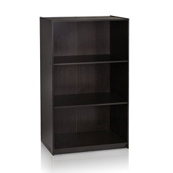 Furinno Basic 3-Tier Bookcase Storage Shelves, Espresso